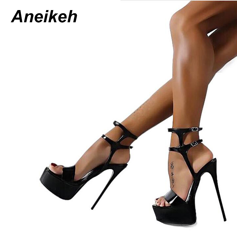 Aneikeh New 2019 Fashion Peep Toe <font><b>High</b></font>-heeled <font><b>Sandals</b></font> <font><b>Sexy</b></font> Open Toe 16CM <font><b>High</b></font> <font><b>Heels</b></font> <font><b>Sandals</b></font> Party Dress Women Shoes Black Red 46 image