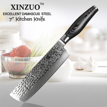 XINZUO 7″ inch chef knife Japanese  73 layers Damascus kitchen knife sharp japanese chef knife pakka wood handle free shipping
