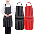 Black/Red Creative Stripe Kitchen Apron for Women Men Useful Cooking Apron Grid Adjustable Chef Cloth Accessories