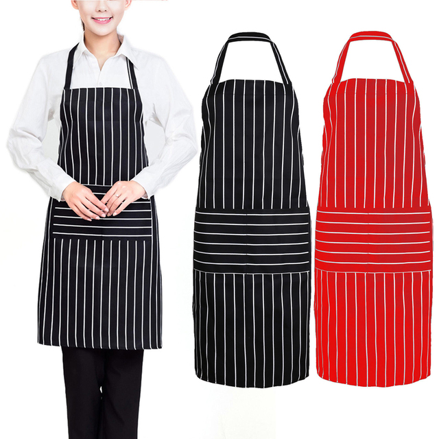 Kitchen Aprons Sink Hose Repair Stripe Apron For Women Men Useful Cooking Grid Adjustable Chef Cloth Accessories