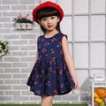 2016 Baby Girl Summer Dress New Pattern Cherry Flower Routine Sleeveless Girl Dress For Kids Costume Casual Navy White Free Ship