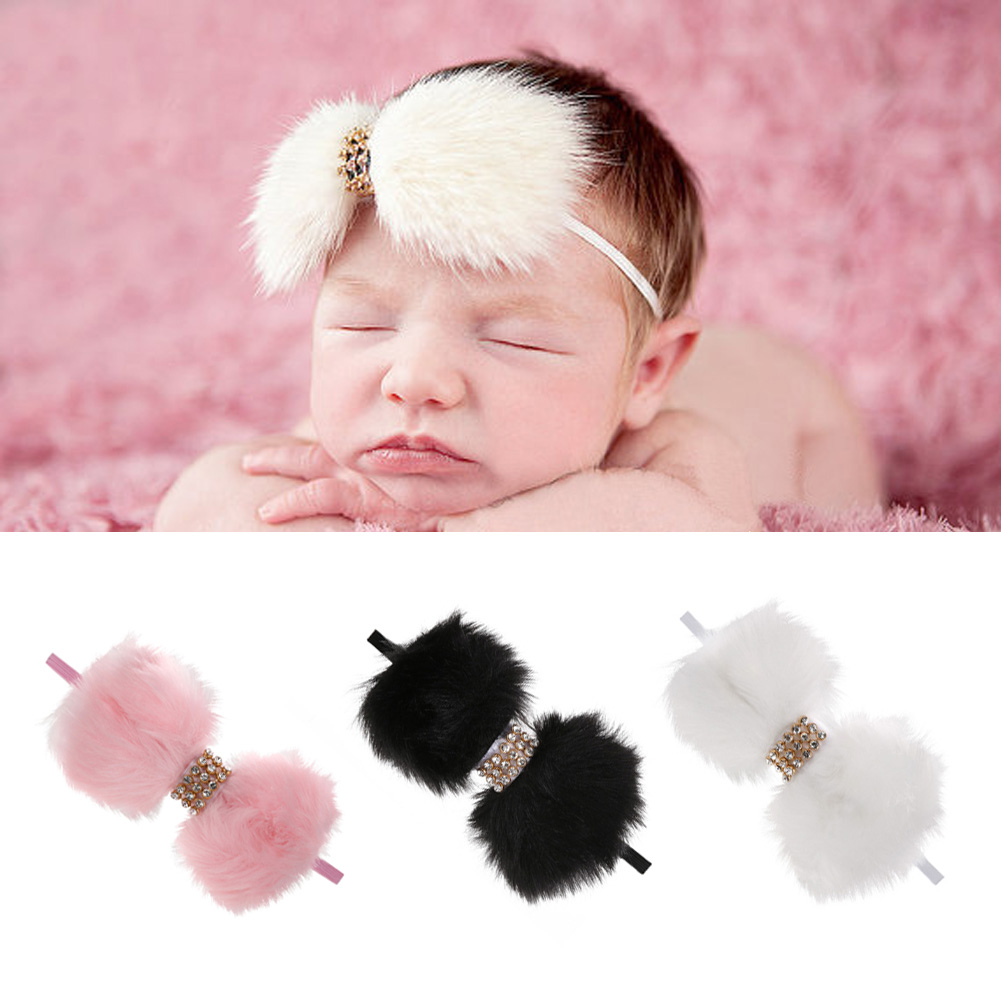 Kids Baby Infant Furry Bowknot Headband Birthday Party Family Photo Baby Shower Turban Stretchable Artificial Hair Hair band