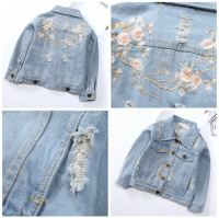 Girl children's autumn jeans coat 2018 children's new baby jacket jacket children Peach Flower Embroidered cowboy clothes