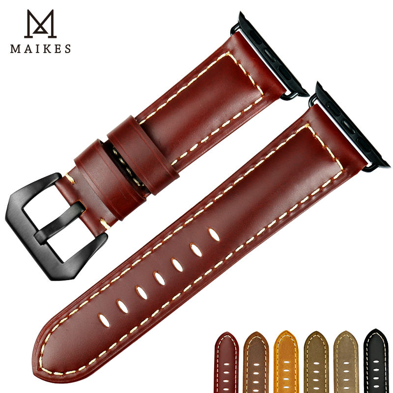 MAIKES Genuine cow leather watchbands black watch bracelet accessory watch strap Case For Apple watch band 42mm 38mm iwatch istrap black brown red france genuine calf leather single tour bracelet watch strap for iwatch apple watch band 38mm 42mm