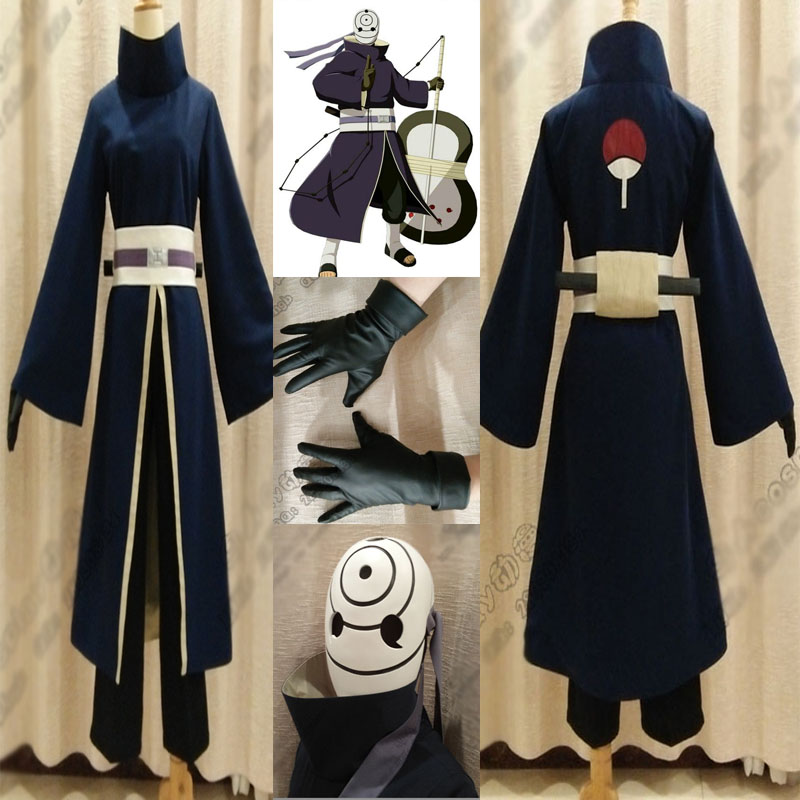 High Quality Anime Costume Full Set NARUTO Akatsuki Ninja Tobi Obito Madara Uchiha Obito Cosplay Costume With Helmet