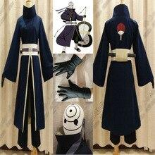 купить High Quality Anime Costume Full Set NARUTO Akatsuki Ninja Tobi Obito Madara Uchiha Obito Cosplay Costume With Helmet по цене 8176.57 рублей