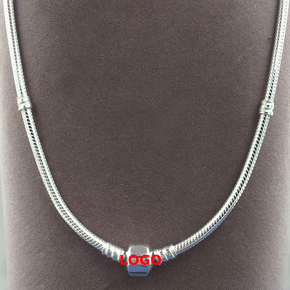 100% Solid Brand Sterling 925 silver Necklace 3 mm Width 18''-20'' Inches Round Snake Chain Logo Fashion Jewelry for Men/Women men 925 sterling silver necklace with 4 mm classic round snake chain necklace the punk style silver ornament gift for boyfriend