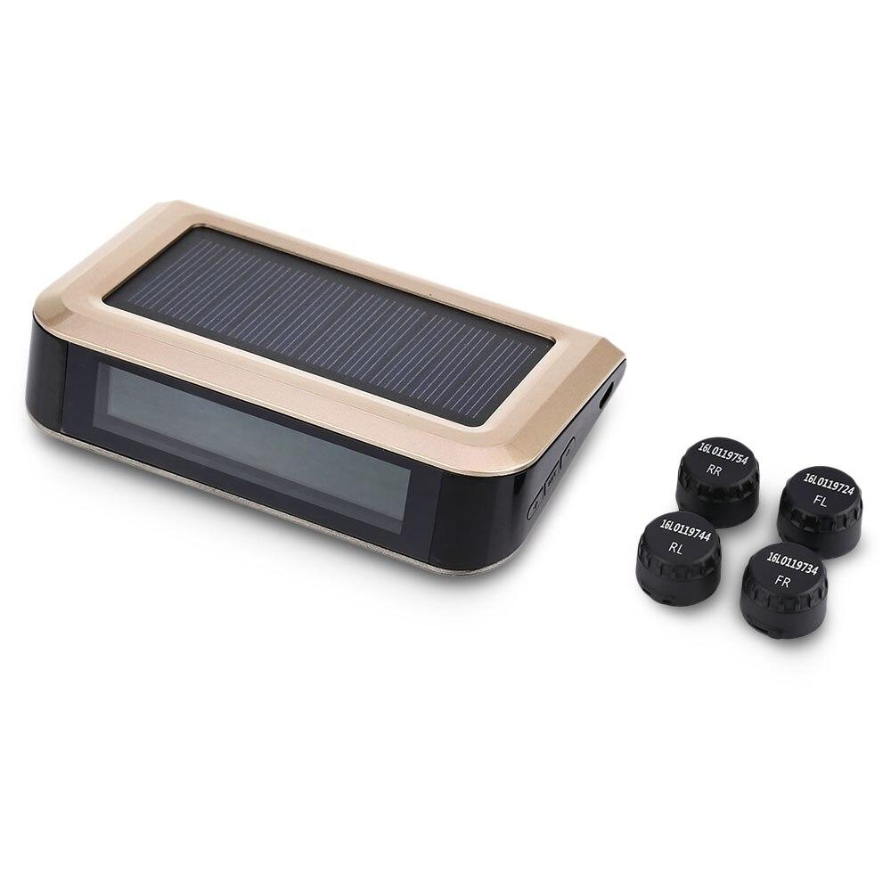 ZEEPIN solaire TPMS système de surveillance de la pression des pneus de voiture système d'alarme de détection de pression électronique avec quatre capteurs externes