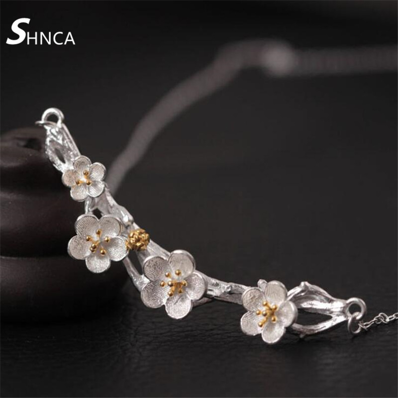 Genuine 925 Sterling Silver Fine Jewelry Vintage Cherry Blossom Plum Blossom Choker Necklaces & Pendants For Women Collares