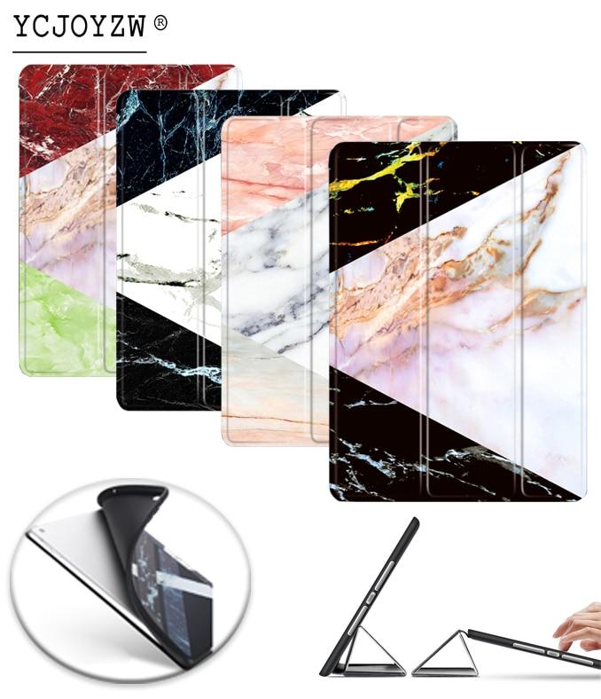 Teste padrão de mármore Novo Caso para Apple iPad 2016 9.7 pro A1673'1674'A167. capa de couro PU + TPU soft Case-wake up sono Inteligente YCJOYZW