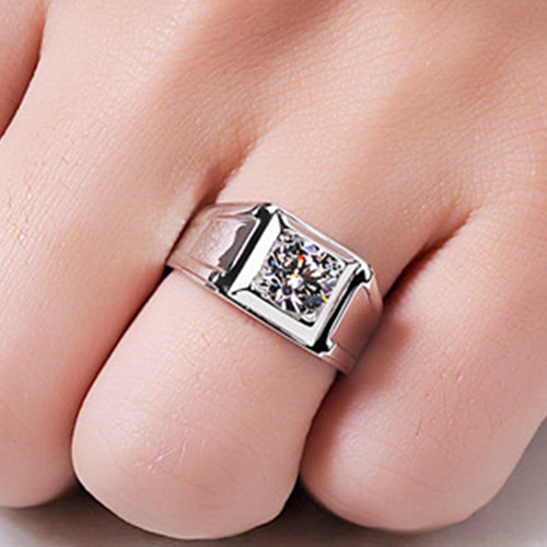 THREEMAN Test as Real Solid 585 Gold Ring 1 CT Solitaire