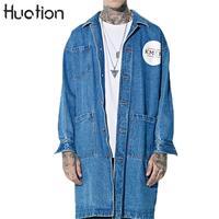 Huation Plus Long Letter Print Hip Hop Denim Trench Coat Men New Fashion Jeans Long Coat Mens Long Trench Coat Denim Jacket