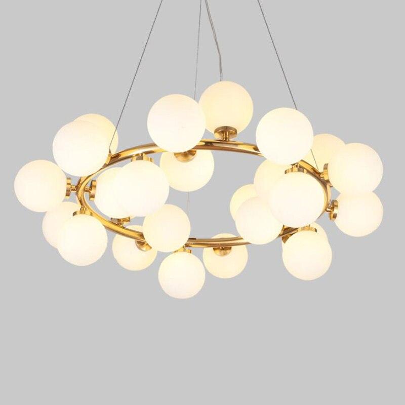 European annular Parlor modern black golden LED hanging lamp light living room foyer round glass ball