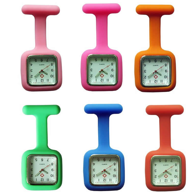 2017 New Luminated Nurses Watches Doctor Portable Pocket Fob Watch Brooches Silicone Tunic Batteries Medical Square Nurse Watch
