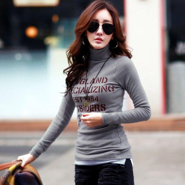 New 2017 Autumn Winter Warm Tops T Shirt Women Long Sleeve Turtleneck T-shirt Female T shirt Women Tee Shirt Camisetas Feminina