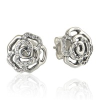 Earrings Compatible European style Jewelry Rose love Stud Earrings with Clear Cz 100% 925 Sterling Silver jewelry DIY Wholesale