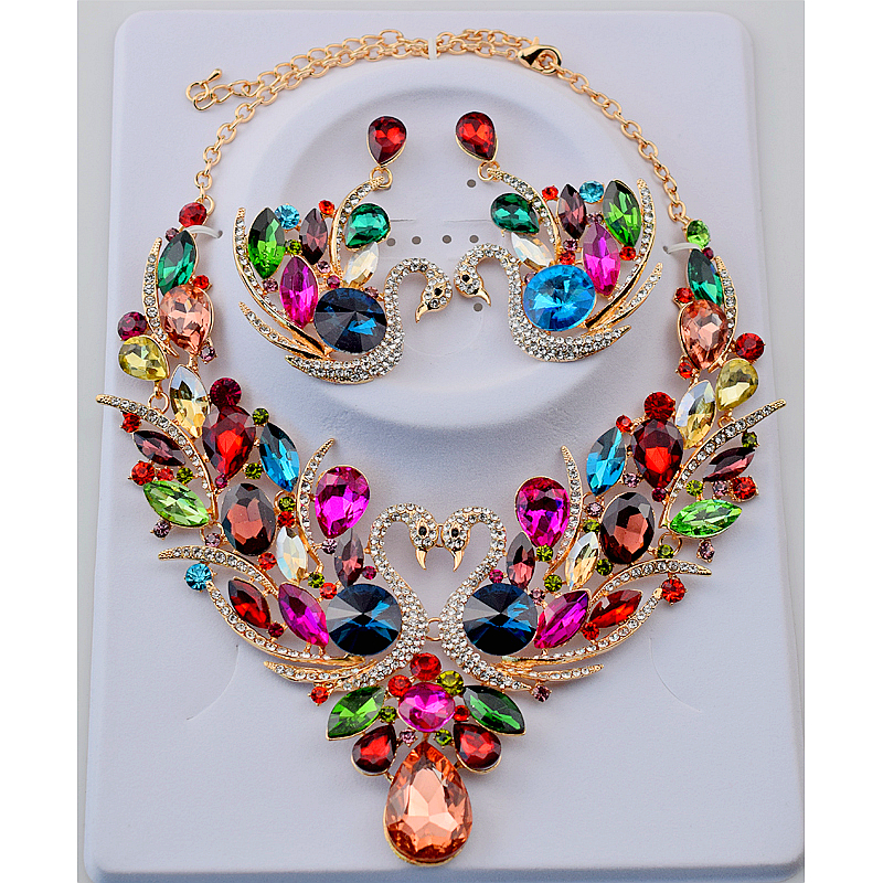 Bridal Jewelry Sets Crystal Rhinestone Gold Color Swan Necklace and Earrings Set for Women Party Bridal Wedding Jewelry Sets a suit of vintage rhinestone artificial crystal necklace ring and earrings for women