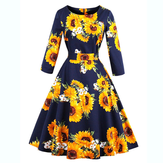Women Autumn Pin Up dress Rockabilly Women Plus Size Sunflower Printed  Retro Vintage Dresses 50s 60s Three Quarter Sleeve Dress