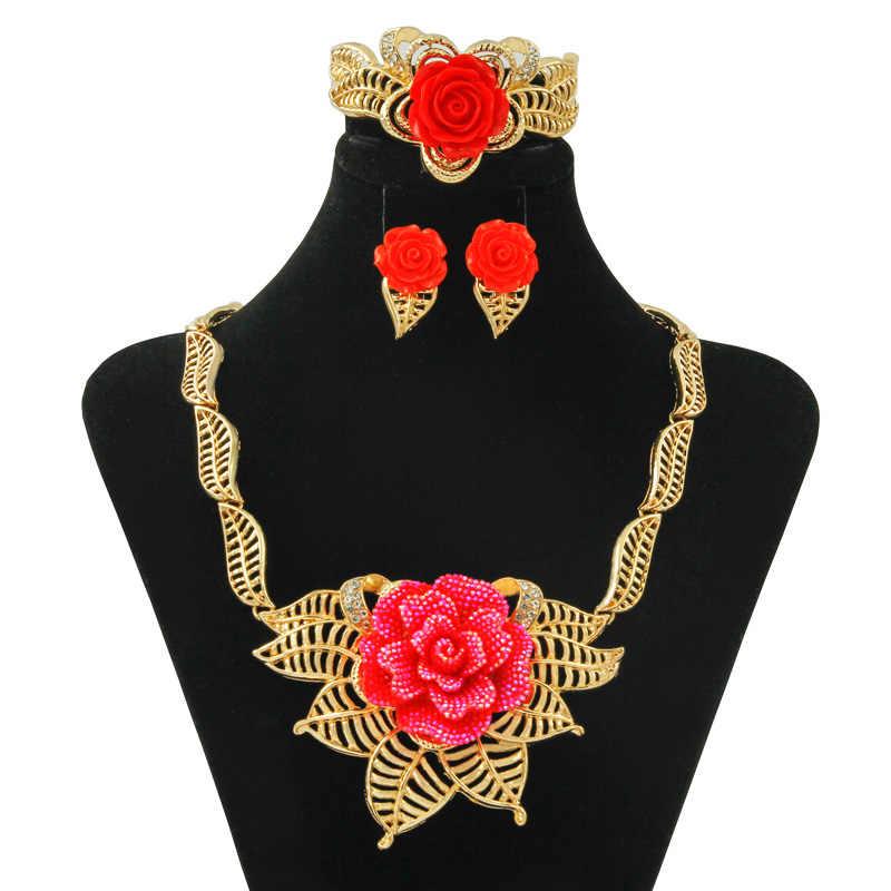אדום צהוב פרחי שרשרת עגילי סטי זהב לוקסוס עבור בנות נשים תכשיטי סט אביב חתיכים זהב תכשיטי עבור אמא
