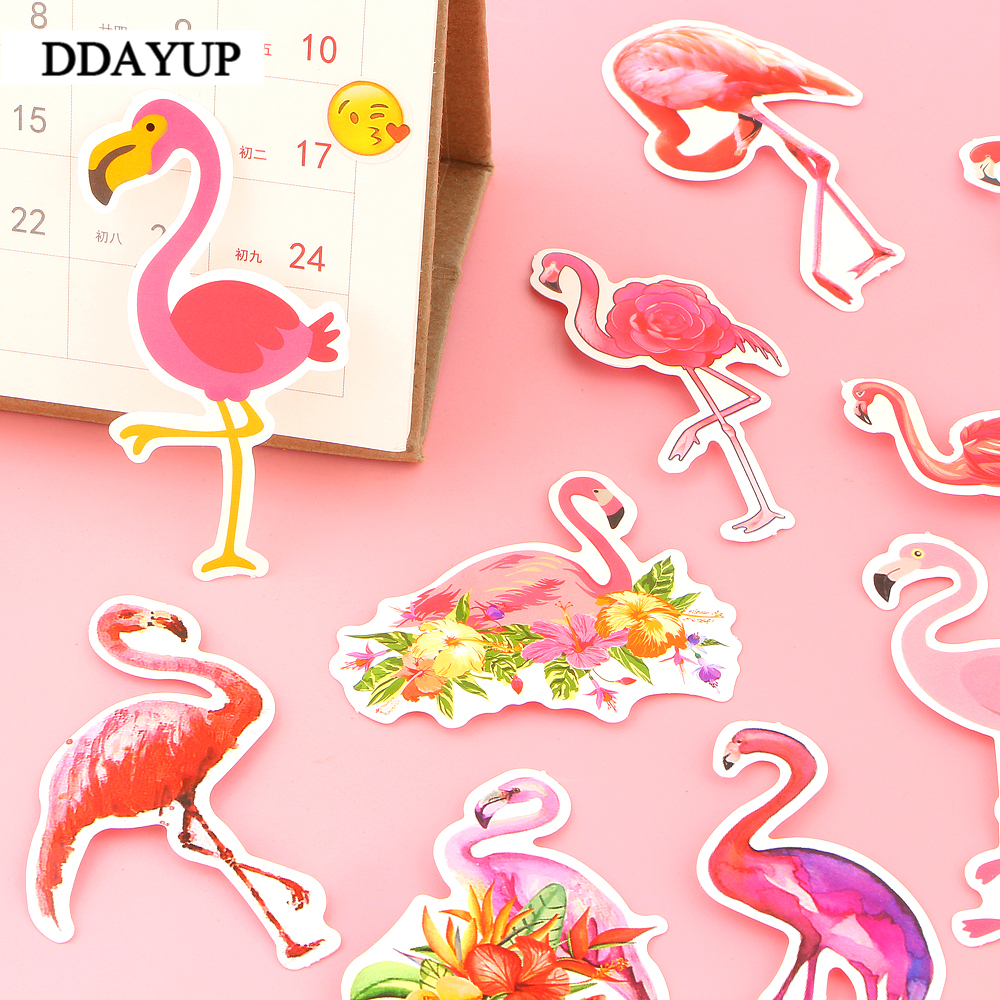115 19 Pièces Mignon Kawaii Animal Flamant Rose Autocollant Paquet Dessin Animé Décoratif Papeterie Autocollant Scrapbooking Bricolage Journal