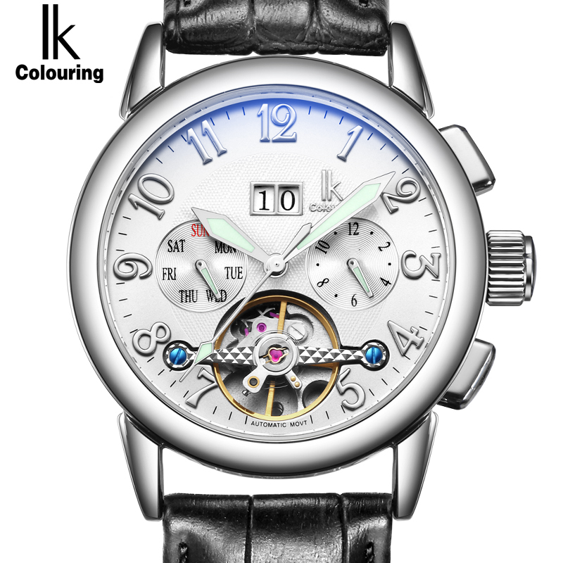 IK Week Day Date Luxury Men Watch Automatic Mechanical Watches Genuine Leather Strap Skeleton Watch Sport Military reloje hombre luxury men s mechanical watch skeleton military sport watch men gold hollow engraving elegant genuine leather strap watches xmas