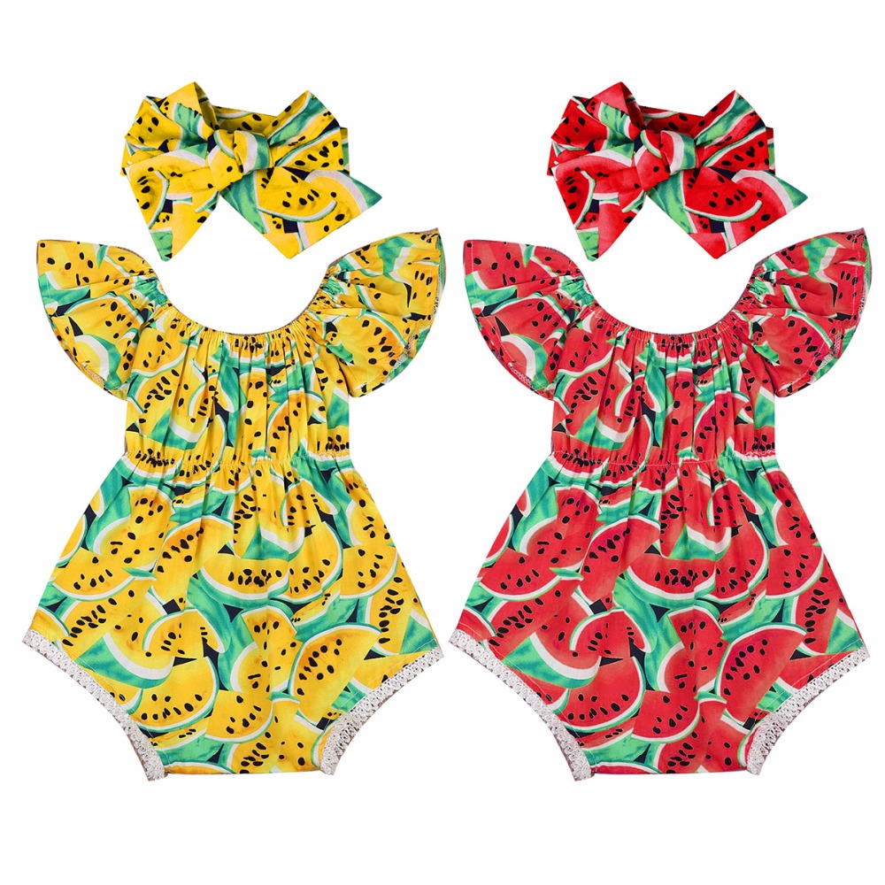 Puseky 2Pcs/Set Newborn Baby Girls Watermelon Clothes Butterfly sleeves Romper Jumpsuit +Headband Outfits Playsuit 0-24M