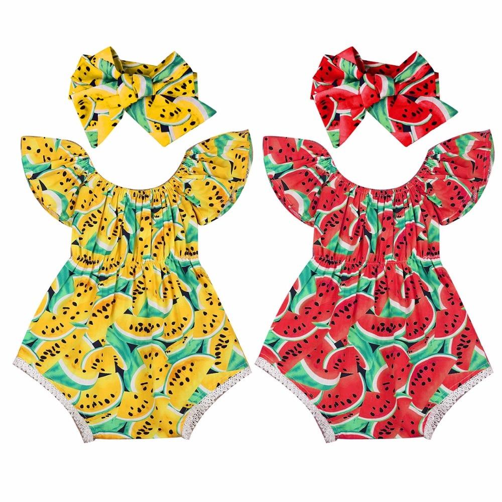 лучшая цена Puseky 2Pcs/Set Newborn Baby Girls Watermelon Clothes Butterfly sleeves Romper Jumpsuit +Headband Outfits Playsuit 0-24M
