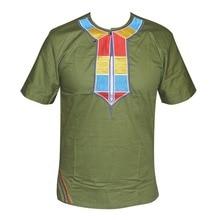 Colorido bordado verde Dashikiage hombres Africano de manga corta Hippie Vintage Tribal bordado Top 2019