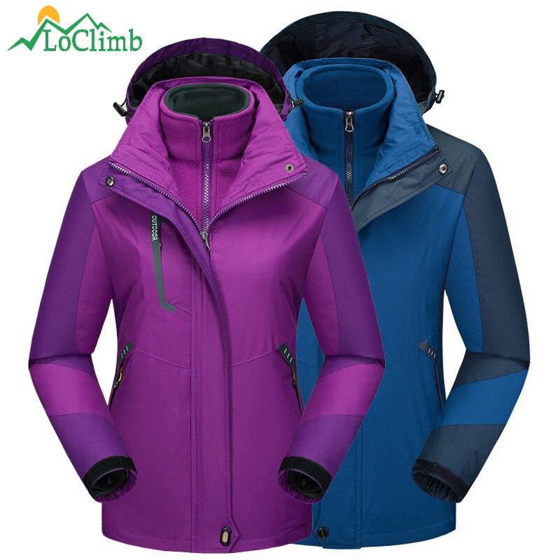 LoClimb 3 In 1 Outdoor Hiking Jacket Women Men Camping Tourism Rain Coat Climbing Windbreaker Trekking