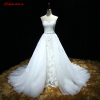 Detachable Lace Wedding Dresses with Removable Skirt Tulle Sequin Wedding Gowns Weding Bridal Bride Dresses Weddingdress