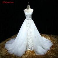 Ayrılabilir Dantel Gelinlik Çıkarılabilir Etek Tül ile Pullu Gelinlikler Weding Gelin Gelin Elbiseler Weddingdress
