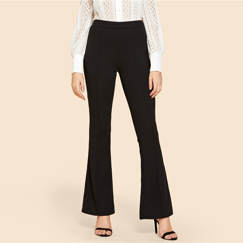 SHEIN Black Vintage Solid Contrast Binding Flare Leg Elastic Waist Elegant Pants Autumn Office Lady Workwear Women Trousers 8