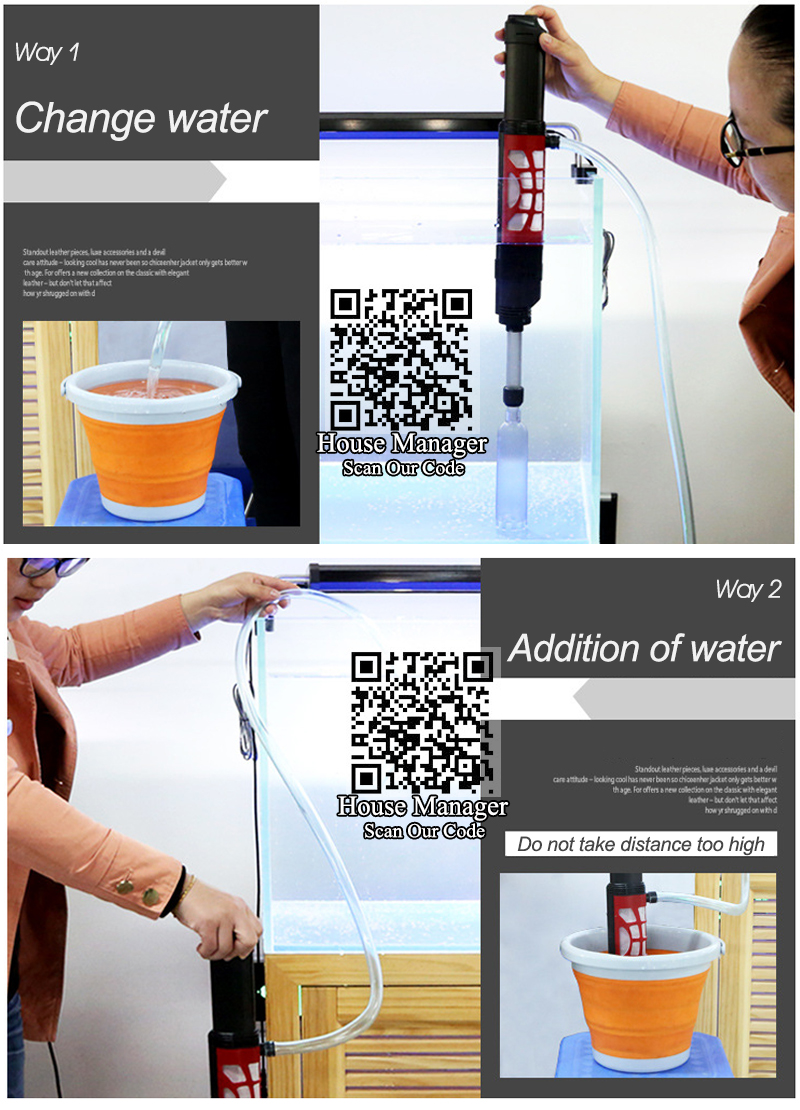 Syphon Automatic Pump, Water Changer Pump 6W Aquarium Accessories For Fish Tank, Cleaning Tool Pump To Change Water Or Add Water