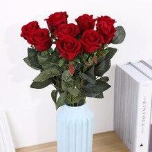 Элегантные красивые европейские искусственные цветы, имитация роз, фланелевые цветы, букет для дома, вечерние, свадебные украшения