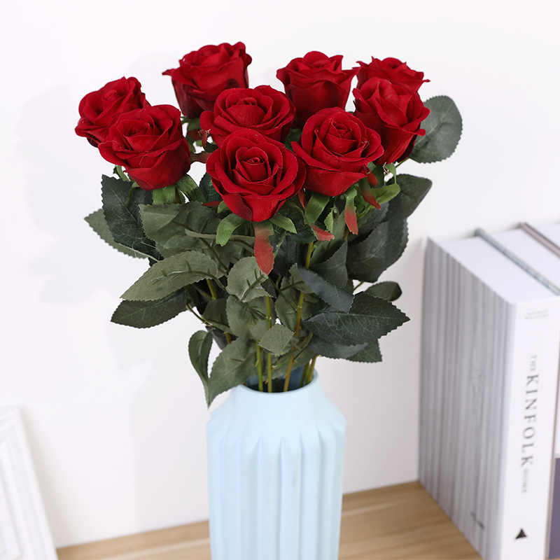 Single Elegant Beautiful European Artificial Flowers Rose Simulation Flannel Flowers Bouquet Home Dec Party Wedding Decoration