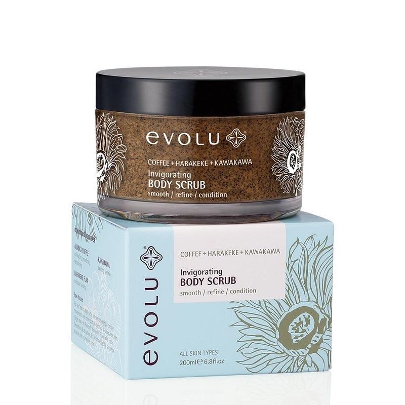 купить NewZealand Evolu Invigorating Body Scrub 200ml COFFEE+HARAKEKE+KAWAKAWA SMOOTH REFINE CONDITION Skin Perfect body treatments дешево
