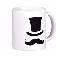 Mustache Moustache Top Hat Two Tone White Coffee Mugs Tea Mug Customize Gift By LVSURE Ceramic