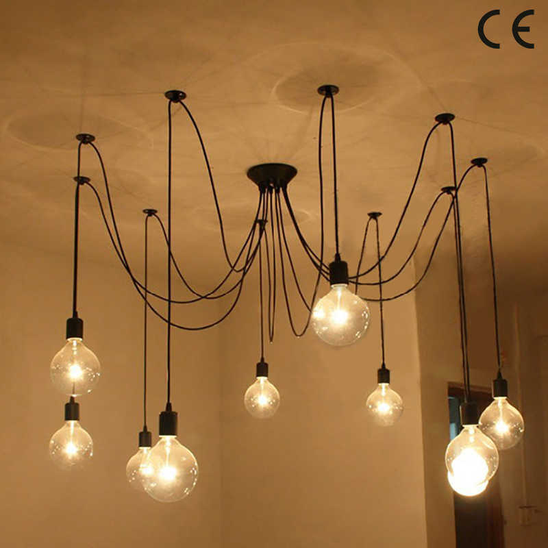الحديث كبير العنكبوت الصناعية الأسود vintage قلادة مصباح لوفت led 14 رؤساء E27 مصابيح تعليق للزينة لغرفة المعيشة المطاعم المطبخ