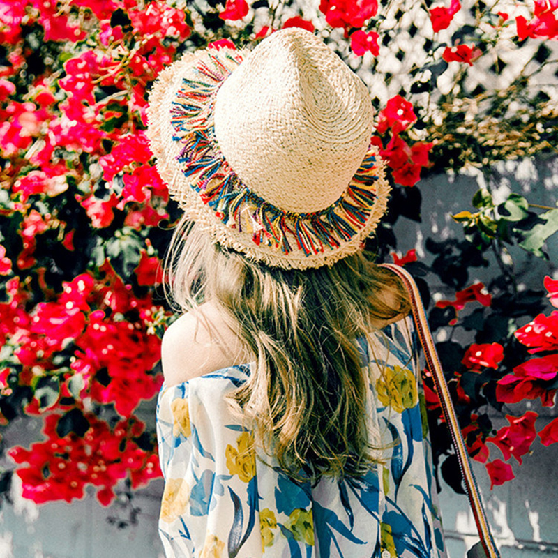 2019 Female Beach Hats Women Color Tassel Summer Straw Outdoor Sun Hats For Women Hat Summer Korean Women  Summer Hat