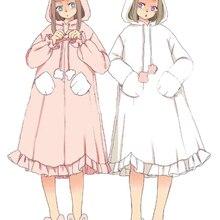 c835c3ca8bf Super Cute Rabbit   Bear Girls Lolita Soft Fleece Pink Sleep Dress Kawaii  Gown Vintage Princess