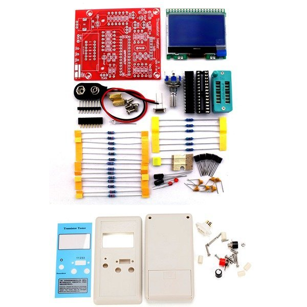 Free Shipping Factory Price Orignal Hiland DIY M12864 Graphics Version Transistor Tester Kit LCR ESR PWM with case