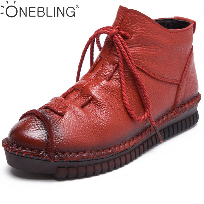 ONEBLING Winter Boots 2017 Warm Short Plush Thicken Ankel Boots Lace Up Pleated Zipper Soft Flat Shoes Spring Women Short Boots