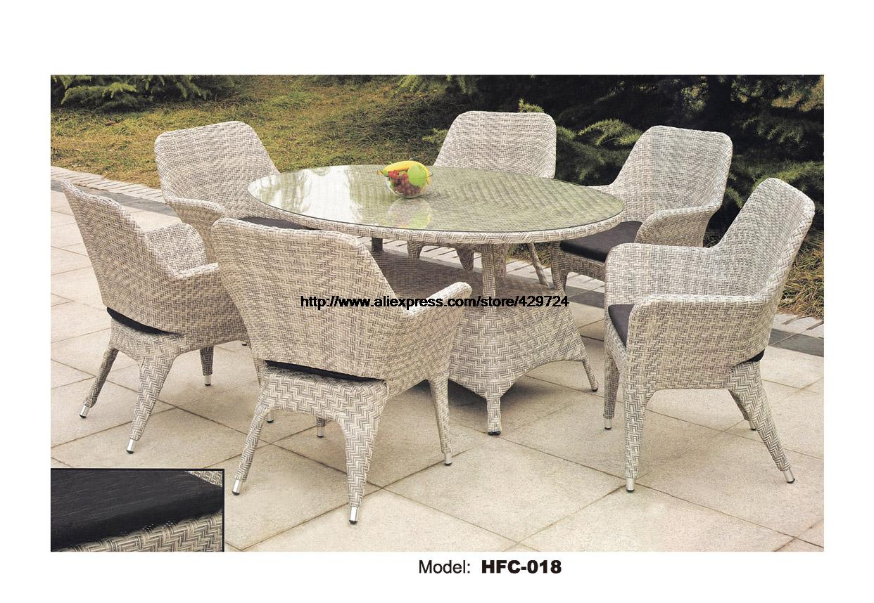Concise Wicker Leisure Glass Table Chairs Set 7 PCS Set Outdoor Balcony Garden Furniture Set Rattan Chairs Table  Combination