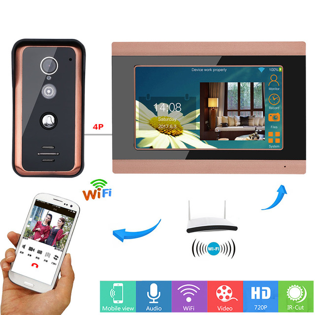 MAOTEWANG 7inch Wifi Wireless  Video Doorbell Intercom Entry System with  HD 1000TVL Wired Camera picture records
