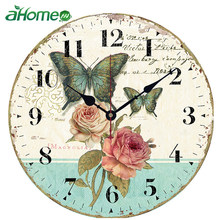 Wall Clock Retro Design Vintage Flowered Chic Office Cafe Room decoration Clocks for Home Kitchen Wall Large Watch Wall Decor(China)