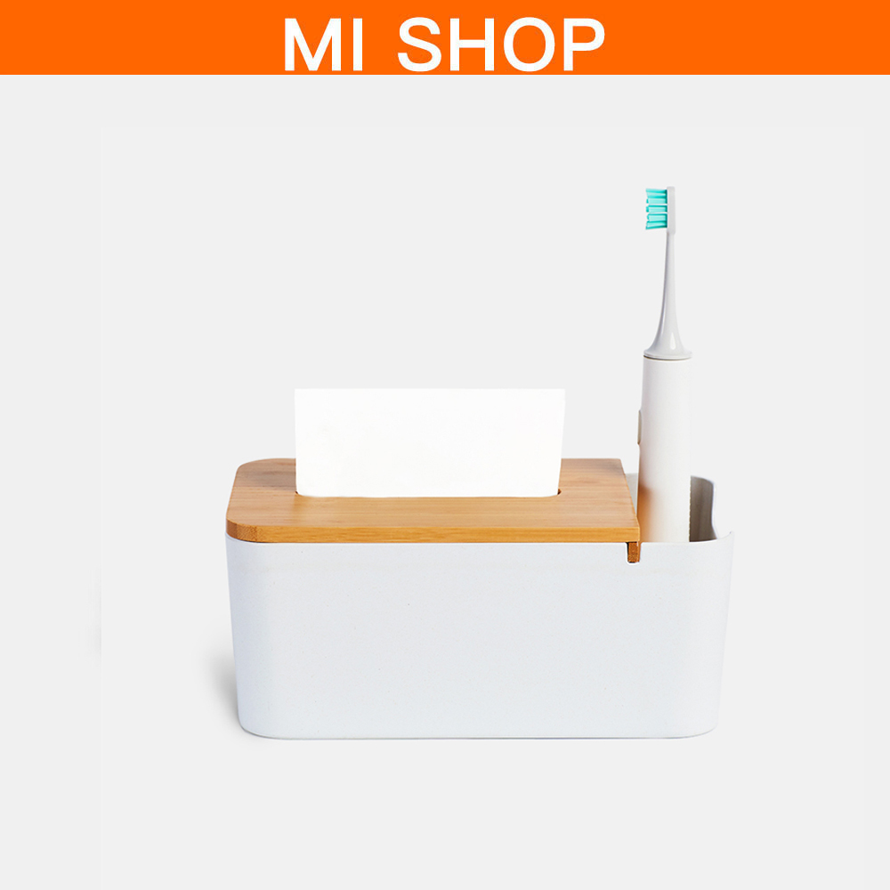 Original Xiaomi Bamboo Fiber Tissue Box Stationery Makeup Container Desktop Storage Box