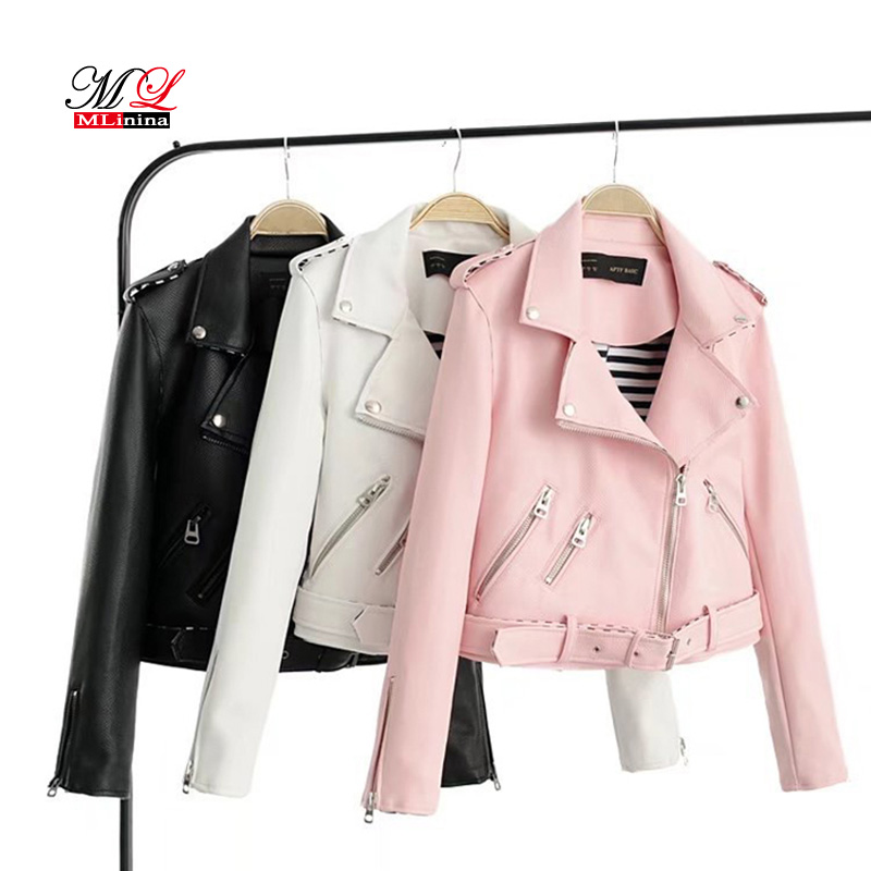 MLinina PU Faux Leather Jacket Women New High Quality Basic Jackets Short  Washed Street Zipper Autumn Winter Jacket Female Coat