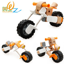 Деревянные сборные строительные блоки DIY винтовые гайки в сборе игрушки модель автомобиля baby ealy Обучающие игрушки детские творческие подарки