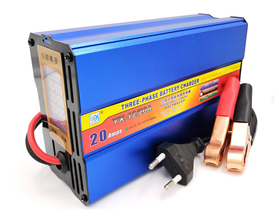 KFZ Battery Lead Acid Charger Automobile Motorcycle Intelligent LCD 12V 20A DHL
