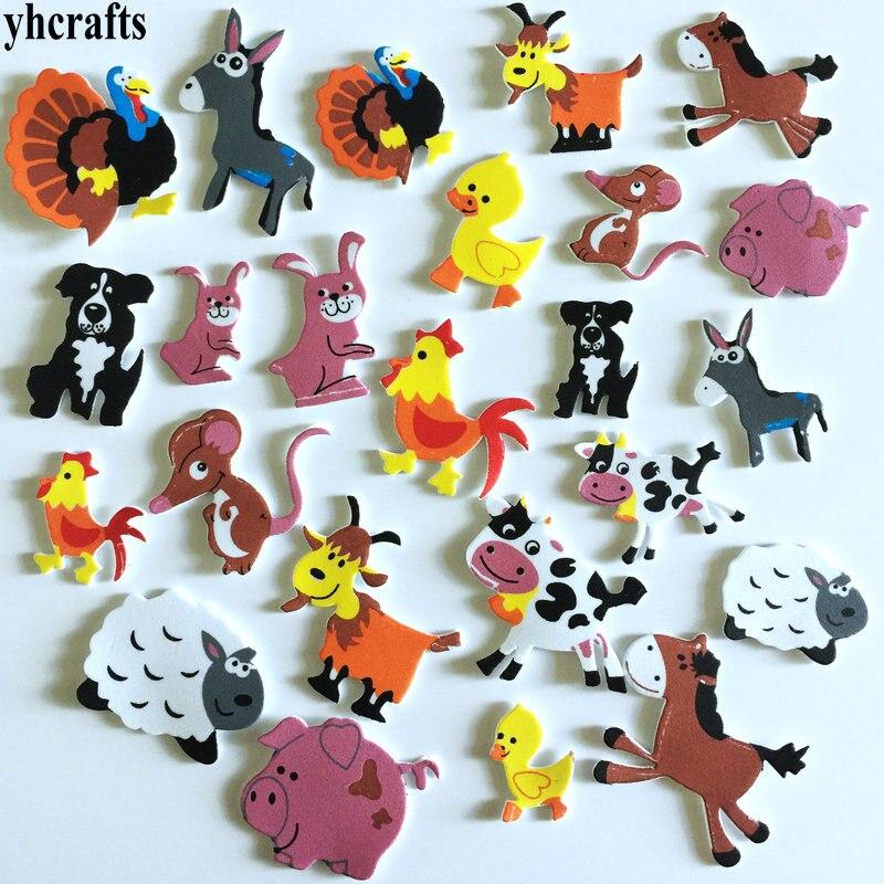 1bag/Lot.Farm Animal Livestock Foam Stickers Scrapbooking Kit.Early Educational Toys Kindergarten Arts Crafts Toys Wholesale OEM